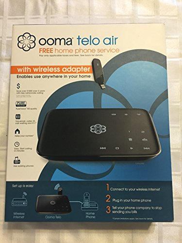Ooma Telo Air VoIP Free Home Phone Service with Wireless Adapter, Plus 90 Days Ooma Premier