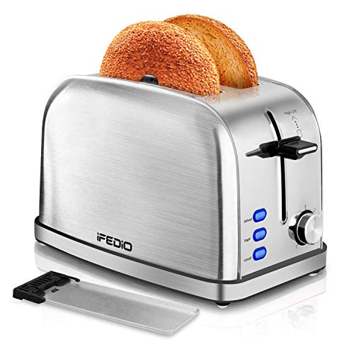 iFedio 2 Slice Best Rated Prime with Removable Crumb Tray Stainless Steel Compact Extra Wide Slots Muffins Waffles Bread Small Retro Bagle Quickly Toaster(Silver)