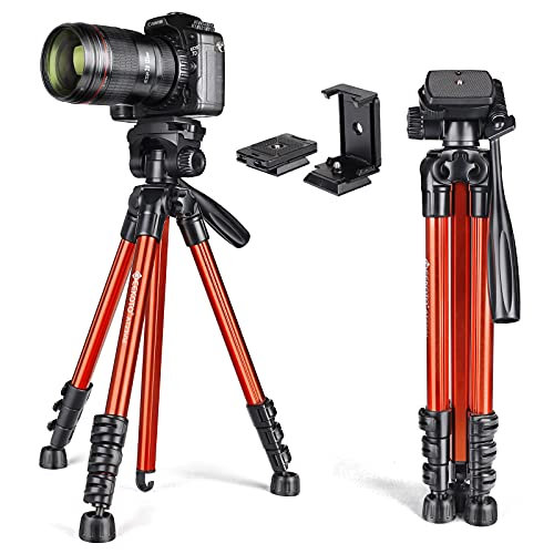 GEEKOTO Travel Camera Tripod Lightweight 56''Portable for DSLR Cameras Canon Nikon Sony with Phone Holder Quick Release Plates for Camera iPhone Ipad,Suitable for Video Recording and Shooting
