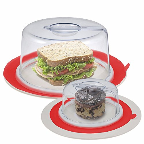 2 Red PlateTopper (Mini & Tall) Universal Leftover Lid Microwave Cover Airtight
