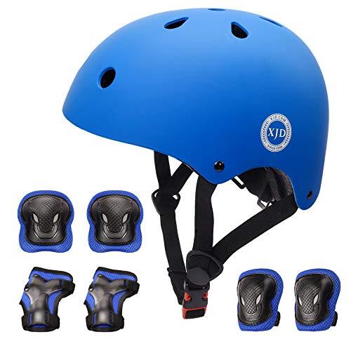 XJD Kids Helmet for Toddler Helmet Boys Girls Sports Protective Gear Set Knee Pad Elbow Pads Wrist Guards Adjustable Roller Bicycle BMX Bike Skateboard Helmets for Kids Blue S
