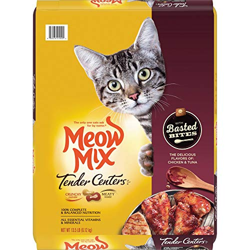 Meow Mix Tender Centers Basted Bites Dry Cat Food, Chicken & Tuna Flavors, 13.5 Pounds