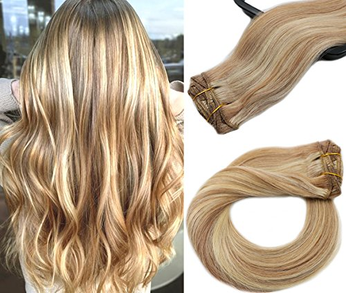 Hair Extensions Clip In Real Human Hair Extensions 70g 7 Pieces Silky Straight Weft Remy Human Hair Golden Brown with Blonde Highlights for Full Head(15 inches, 12-613)
