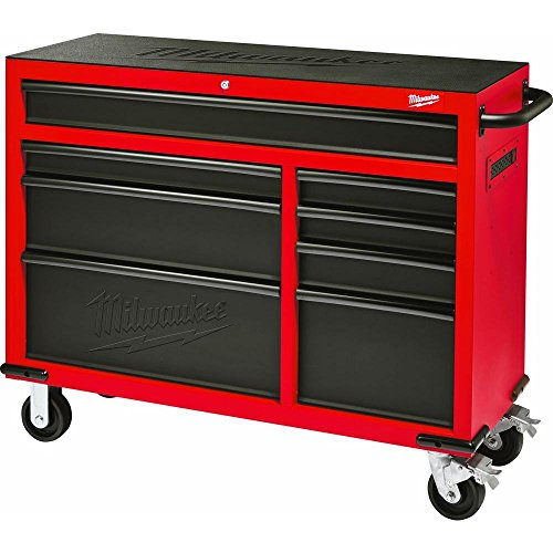 Milwaukee Heavy Duty Red & Black 46 in. 8-Drawer Rolling Steel Storage Cabinet | Contemporary Hardware Chest for Your Carpentry or Construction Tools like Drills, Wrenches, Drivers & Battery Packs