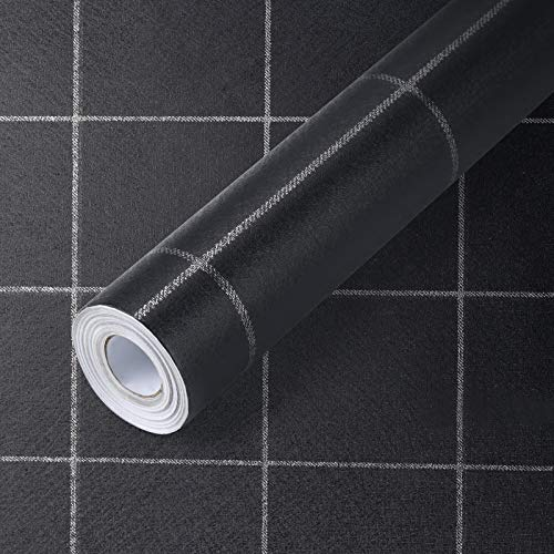 Black Wallpaper with Gray Grid, 17.7' x 336' Self-Adhesive PVC Lattice Pattern Grain Wallpaper, Contact Paper Removable Waterproof Easy to Clean Wall Covering