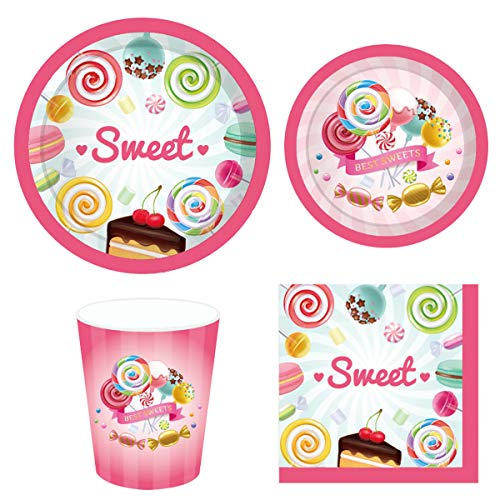 Cieovo Candyland Party Supplies Set for 16 Guests Including Dinner Plates, Dessert Plates, Lunch Napkins, Cups for Baby Shower Wedding Family Activity Lollipop Theme birthday Party Decorations