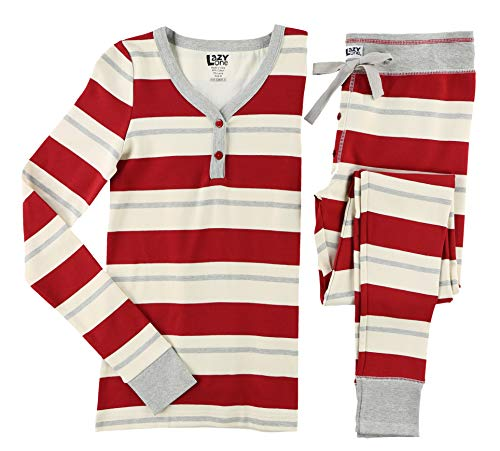 Lazy One Women's Thermal Pajamas, Cozy and Cute Pajamas for Adults (Country Stripes, Large)