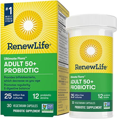 Renew Life Adult Probiotic - Ultimate Flora Adult 50+ Probiotic Supplement - Shelf Stable, Gluten, Dairy & Soy Free - 25 Billion CFU - 30 Vegetarian Capsules