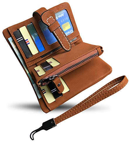 Women's Small Bifold Leather wallet Rfid blocking Ladies Wristlet with Card holder id window Coin Purse (Brown3)