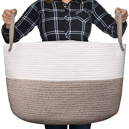Luxury Little Nursery Storage Basket, Size XXXL :: 100% Cotton Rope Hamper with Handles :: Sturdy Baby Bin Organizer for Laundry, Toys, Blankets, Pillows & More, 22' x 22' x 14', White/Beige