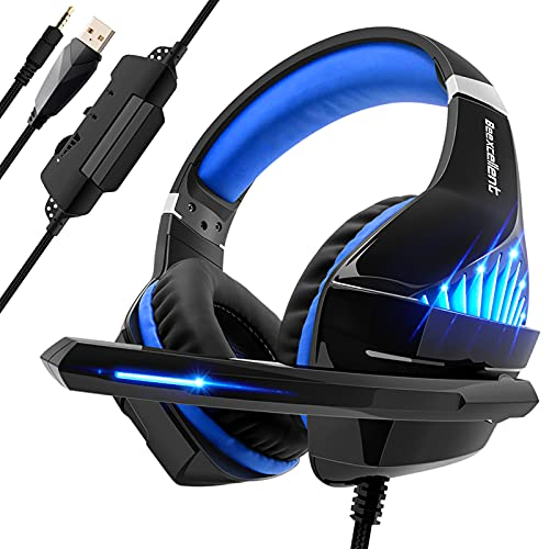 Gaming Headset for PS4 PS5 Xbox One Controller, Over Ear Headset with Noise Isolation Mic, Stereo Surround Sound, Soft Memory Earmuffs, Mic Mute, LED Light, Headset for PC Laptop Mac Nintendo Switch