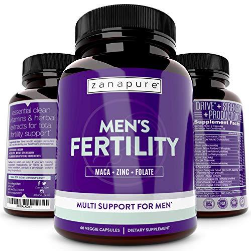 ZANAPURE Men's Fertility Supplement, Male Vitamin for Sperm Production, Libido Boost & Testosterone Support | D-aspartic Acid + Tribulus | Motility + Optimal Count + Conception Support, 60 Vegan Caps