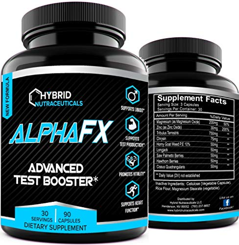AlphaFX - The Natural Test Booster Estrogen Blocker Supplement for Men | Testosterone Booster | Libido Support with Tribulus Terrestris, and Chrysin, for Increased Strength, Stamina and Energy