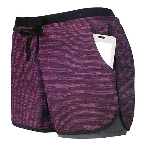 RIBOOM Women Workout Running Shorts 2 in 1 Active Yoga Gym Sport Shorts with Pockets (L, Striped Violet)