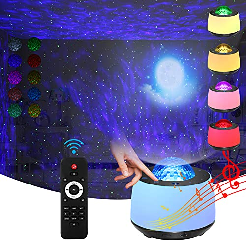 Star Projector Light with Night Light Projrctor Moon and Nebula Effect/Bluetooth Voice Control/Rotating Ocean Wave/Bluetooth Speaker/Wireless Remote. Panel Screen Button Light for Entertainmen