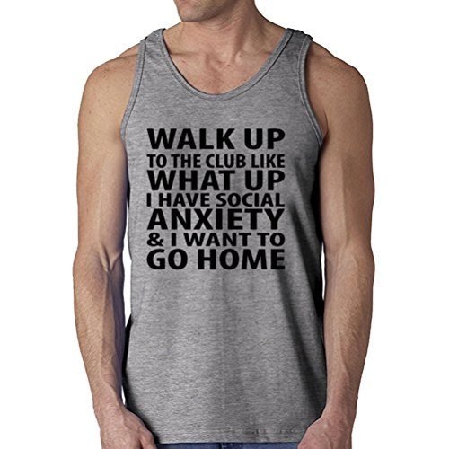 Fashion-Night Men's Walk Up To The Club Like What Up I Have Social Anxiety Tank Top (Grey Medium)