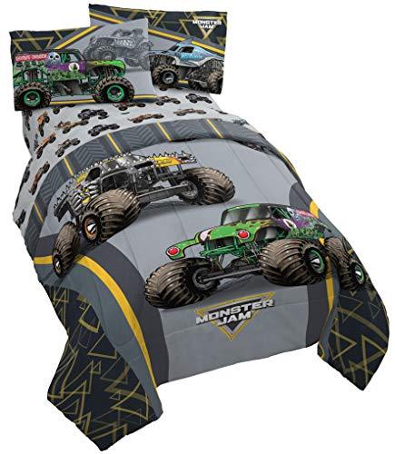 Monster Jam MJ Life 4 Piece Twin Bed Set - Includes Reversible Comforter & Sheet Set - Bedding Features Grave Digger, Max-D, Megalodon - Super Soft Microfiber - (Official Monster Jam Product)