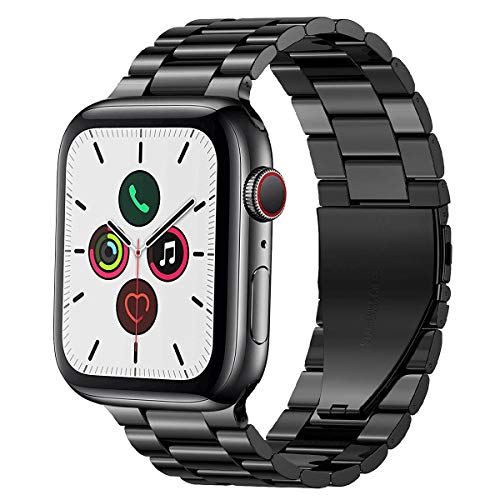PUGO TOP Replacement for Apple Watch Band 38mm 40mm 42mm 44mm Stainless Steel Metal Iwatch Iphone Watch Link Band for Apple Watch Series 6/5/4/3/2/1/SE (3 blades Black, 42mm/44mm)