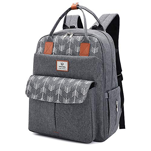 Lekebaby Diaper Bag Backpack Multifunctional Baby Nappy Bag with Diaper Changing Pad, Grey