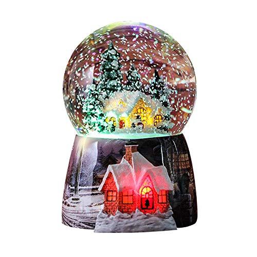 Snow Globes for Kids Boys - Girls Snow Globe Christmas Village Santa Snow Globe Winter Glitter Art Crystal Ball Rotate 7 Colors Change Light Musical Box Castle in The Sky Birthday Xmas Gifts