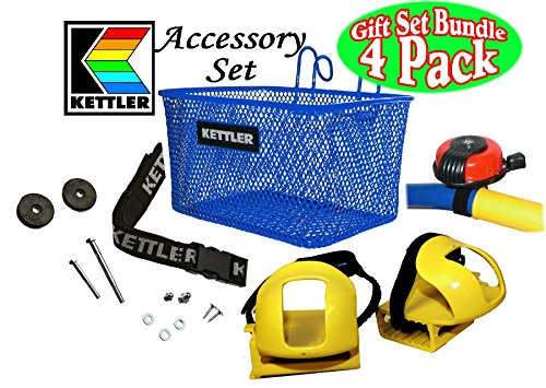 Kettler Tricycle Universal Accessory Set with Blue Metal Basket, Adjustable Seat Belt, Red Metal Bell & Toe Clips Gift Set Bundle - 4 Pack