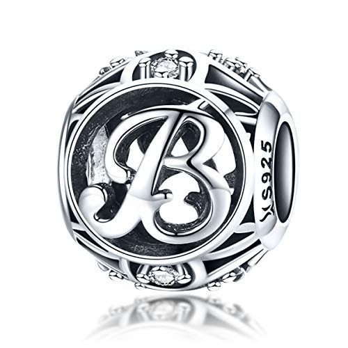 925 Sterling Silver with Cubic Stones, Complete A~Z Gift Options Alphabet Charm Letter Beads fit Pandora European Bracelets (Letter B)