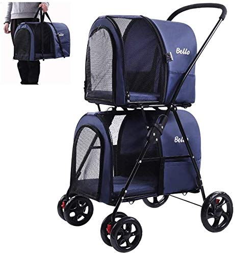 Luxury Dog/Cat/Pet Stroller Double-deck Pet Travel Stroller with Carry Cage, Folding Removable Cat Pushchair Pram Jogger Buggy with 4 Wheels Locking Zippers, Pet Car Seat for Small & Medium Large Pets