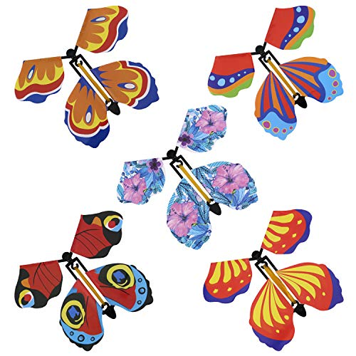 LUTER 15pcs Wind up Flying Butterflies Magic Wonderland Butterfly Toy Fairy Toy for Gift Surprise, Wall Decoration, Puzzle Toys for Kids (Random Color)