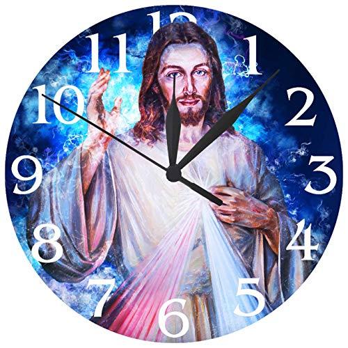 GeTJonesRiGhT 10in Cross Wall Clock Jesus Christianity Religion-Perfect Jesus Gift for Man, Woman, Mom or Dad-Kitchen, Bedroom Decoration-Apostles Bible