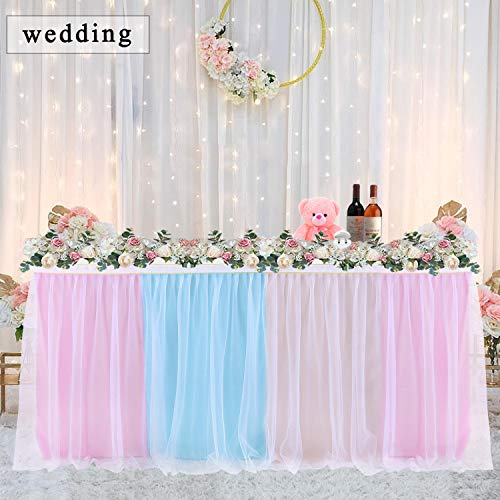 9FT Rainbow Tulle Table Skirt 6FT Tutu Table Skirting with High-end Gold Brim for Round or Rectangle Tables Fluffy and Elegant for Baby Shower,Party,Wedding Decoration