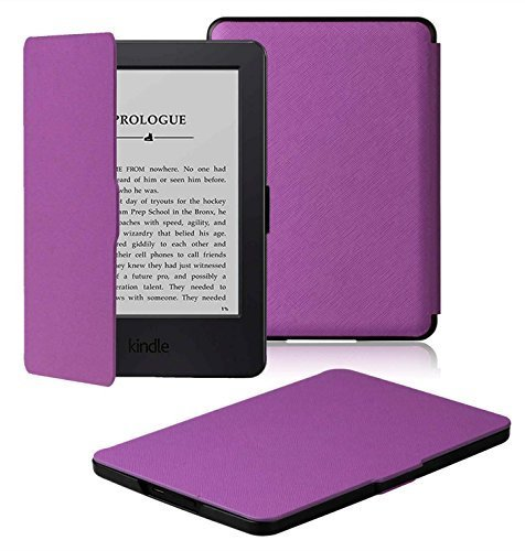 All-new Kindle Cover - OMOTON Kindle (7th Gen) Smart Case Cover - The Thinnest and Lightest PU Case Cover for All-new Kindle (with New Touchscreen Display, 2014 Released), with Auto Sleep/ Wake Feature, Purple