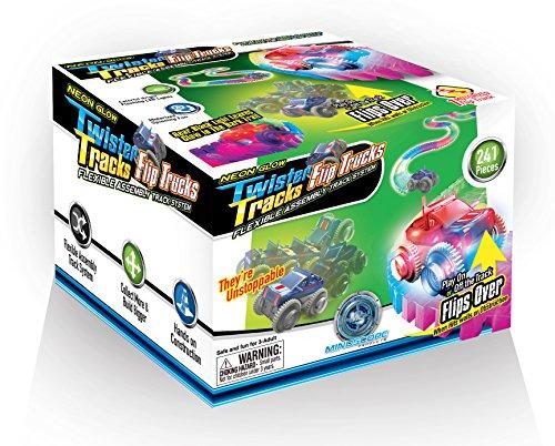 Mindscope Neon Glow in The Dark Twister Tracks Trax FLIP Trucks Flexible Assembly Track System w/12 feet of Track