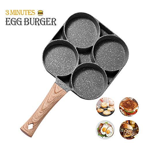 MIUGO Egg pan, Aluminum 4-Cup Egg Frying Pan, Non Stick Egg Poacher Pan for frying eggs,burgers and bacon