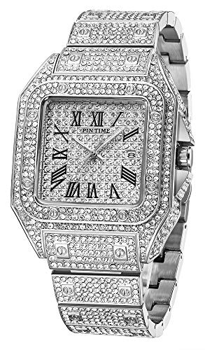 Iced Out Watches for Men Hip Hop Bling-ed Out Huge Square Dial Watch with Simulated Crystals