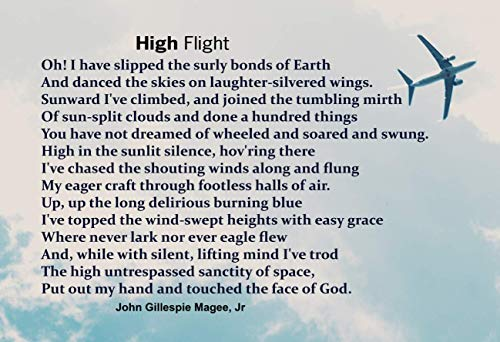 WeSellPhotos High Flight Poem - Poster, Print, Picture or Framed Photograph (13x19 Unframed Poster)
