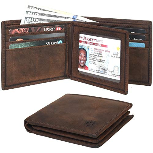 Clifton Heritage Leather Bifold Wallets for Men - Slim RFID Blocking Compact Design Travel Smart Wallet (Brown Crazy Horse)
