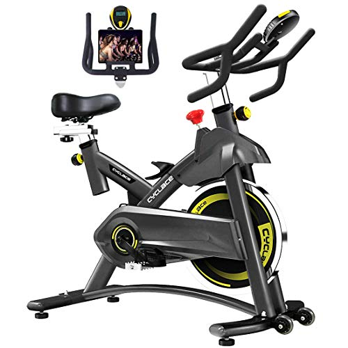 Cyclace Exercise Bike Stationary 330 Lbs Weight Capacity- Indoor Cycling Bike with Comfortable Seat Cushion, Tablet Holder and LCD Monitor