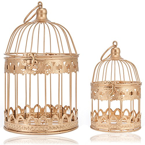 LONGBLE 2 Pcs Round Wedding Birdcages Gift Card Holder Decorative Gold Metal Wall Hanging Laterns, Candelabra, Bird Cage for Small Birds Party Home Garden Decorations (Gold)