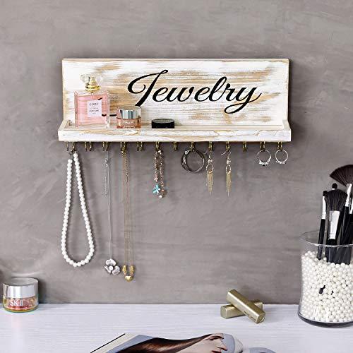 MyGift 26 Hook Shabby Chic White Washed Wood Jewelry Organizer Wall Mounted Shelf Necklace Hanger with Modern Cursive Writing