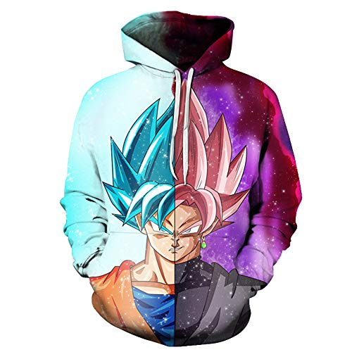Lichee Mens/Boys 3D Dragon Ball Z Goku Costume Cosplay Pullover Super Anime Hoodies Sweatshirt