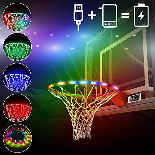 Innoo Tech LED Basketball Hoop Lights, Basketball Rim Lights Waterproof Glow-in-The-Dark Powered by Power Bank with Counting Function, Ideal for Outdoors Game Training Party Playing at Night