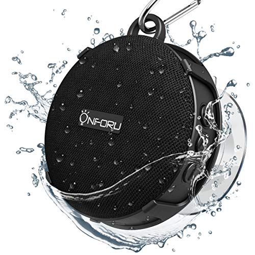 Onforu Shower Speaker, Waterproof Outdoor Bluetooth Speaker with Suction Cup, Portable Mini Wireless Speaker with Sturdy Hook, Stereo Sound and Bluetooth 5.0 for Bathroom, Pool, Beach
