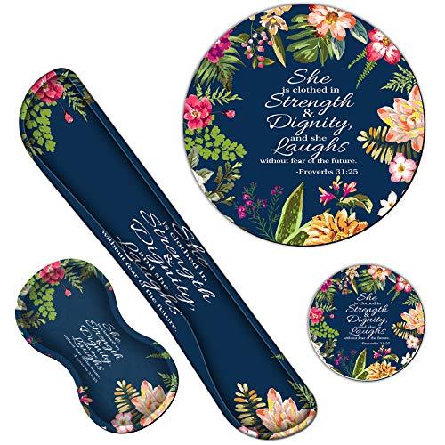 ErgonomicKeyboardWristRests GelMemoryFoamMousePadwithRoundMousepad + Coasters,WristSupportSetwithNon SlipBaseforGamingOffice Laptop EasyTyping, Psalm 31:25 Watercolor Floral
