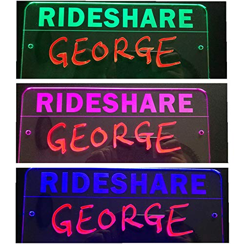 Personalized rideshare Sign for U or L Driver Marker Pen(Color Randomly) LED Color Changed 12V car Cigar ligher Input 6.6ft Cord Acrylic Engraving