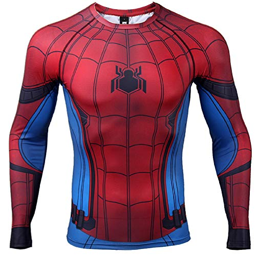 COOLMAX Civil War Long Sleeve Spiderman Compression Shirt 3D Print Men's Gym Top (Large, Blue)