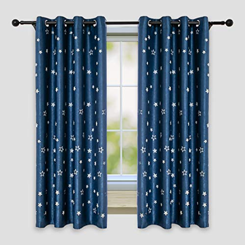 STFLY Star Blackout Curtains, Luminous Glow in The Dark Decor Star Curtains for Girls/Kids Bedroom Set of 2 Panels Window Curtain (Navy Blue, 52W x 63L)