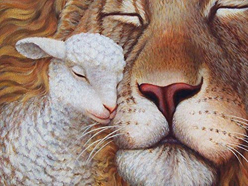 The Lion And The Lamb -Oil Painting On Canvas Modern Wall Art Pictures For Home Decoration Wooden Framed (20X16 Inch, Framed)
