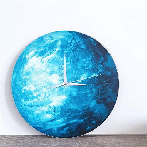 MQUPIN DIY Moon Wall Clock Luminous Wall Clock,Glow in The Dark Moon Wall Clock,Romantic Luminous Moon Home Decor,Silence for Bedroom Home Decoration Clock Wall Pendulum Timer Gift (Earth)