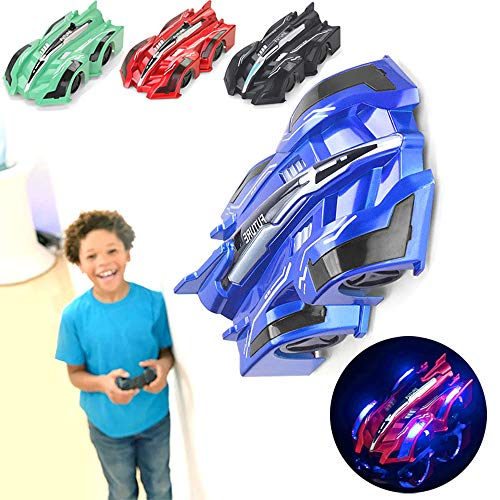 wall climbing car, Remote Control Rc Cars, Remote Control Wall Climbing RC Car with LED Light 360 Degree Rotating Stunt Toy (blue)