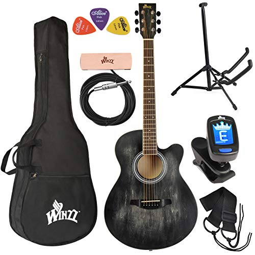 WINZZ 40 Inches Cutaway Acoustic Guitar Beginner Starter Bundle with Padded Bag, Stand, Tuner, Pickup, Strap, Picks, Black
